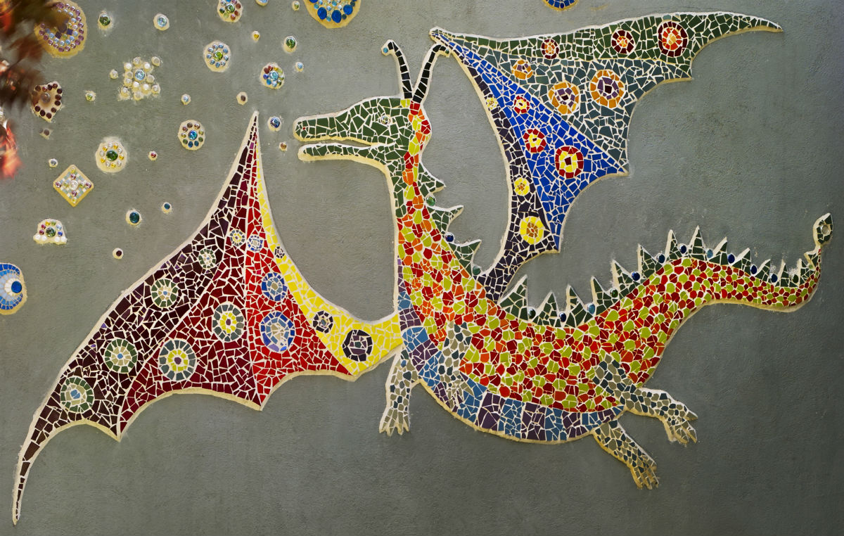 Dragon cropped but whole 1200 Claire Brill Mosaic Spaces